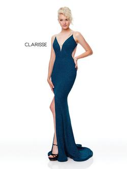 Style 3799 Clarisse Blue Size 4 Sorority Formal Teal Side slit Dress on Queenly