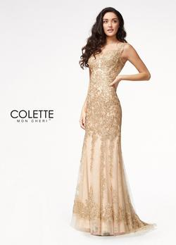 Style CL21712 Mon Cheri Gold Size 16 Pageant Mermaid Dress on Queenly