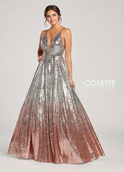 Style CL19872 Mon Cheri Silver Size 4 Ombre Pageant Ball gown on Queenly