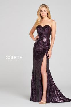 Style CL12118 Mon Cheri Purple Size 12 Jersey Sweetheart Prom Plus Size Side slit Dress on Queenly