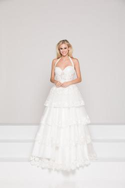 Style 1960 Colors White Size 2 Wedding Prom Ruffles A-line Dress on Queenly