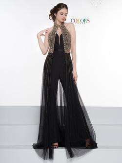 Style 2043 Colors Black Size 8 Gold Halter Fun Fashion Jumpsuit Dress on Queenly