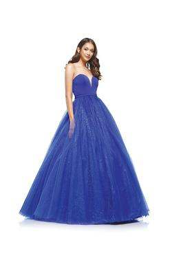 Style 2166 Colors Blue Size 2 Sheer Tall Height Ball gown on Queenly