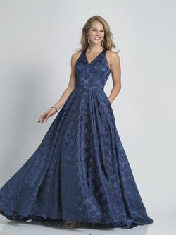 Style A8866 Dave & Johnny Blue Size 12 Halter Plus Size A-line Dress on Queenly
