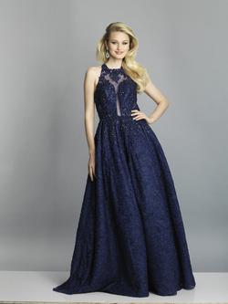 Style A7565 Dave & Johnny Blue Size 16 Halter Plus Size Lace Ball gown on Queenly