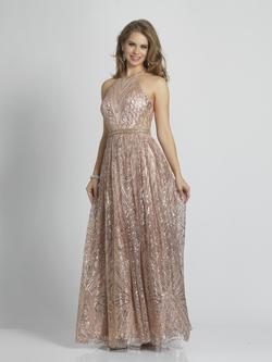 Style A7675 Dave & Johnny Gold Size 4 Tall Height Wedding Guest A-line Dress on Queenly