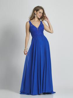 Style A9237 Dave & Johnny Blue Size 18 Wedding Guest Prom Plus Size A-line Dress on Queenly
