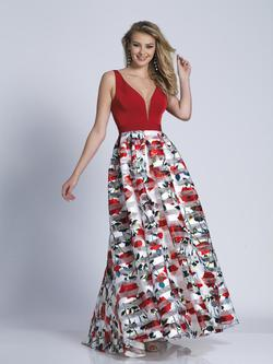 Style A5991 Dave & Johnny Red Size 14 Prom Print Dave And Johnny A-line Dress on Queenly
