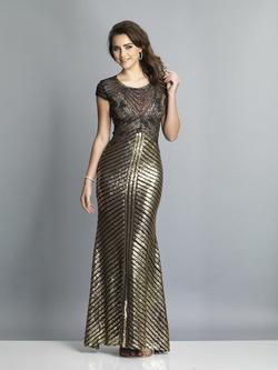 Style A7788 Dave & Johnny Gold Size 6 Tall Height Wedding Guest Straight Dress on Queenly