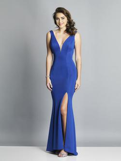 Style A7025 Dave & Johnny Blue Size 14 Wedding Guest Prom Plus Size Side slit Dress on Queenly