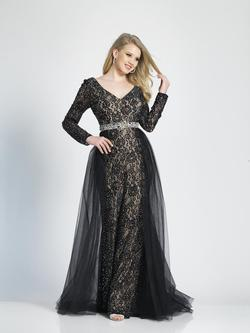 Style A7165 Dave & Johnny Black Size 18 Prom Plus Size A-line Dress on Queenly