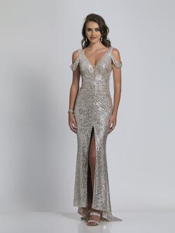 Style A8750 Dave & Johnny Silver Size 14 Sorority Formal Dave And Johnny Side slit Dress on Queenly