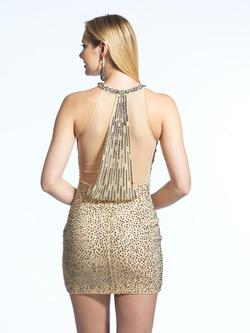 Style 1782 Dave & Johnny Nude Size 6 Halter Tall Height Cocktail Dress on Queenly