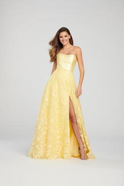 Style EW119007 Ellie Wilde Yellow Size 12 Embroidery Silk Side slit Dress on Queenly