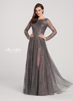 Style EW119003 Ellie Wilde Silver Size 10 Long Sleeve Prom Pageant A-line Dress on Queenly