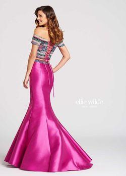 Style EW118038 Ellie Wilde Hot Pink Size 2 Silk Prom Mermaid Dress on Queenly