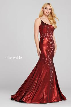 Style EW120020 Ellie Wilde Red Size 0 Train Sheer Tall Height Mermaid Dress on Queenly