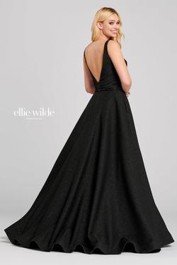 Style EW120071 Ellie Wilde Black Size 8 Pageant Fun Fashion Train Side slit Dress on Queenly