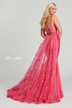 Style EW120009 Ellie Wilde Pink Size 6 Flare Prom Jersey Tulle Mermaid Dress on Queenly