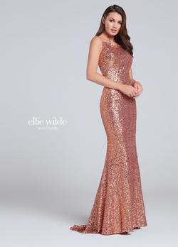Style EW117115 Ellie Wilde Gold Size 6 Pageant Boat Neck Mermaid Dress on Queenly