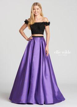 Style EW118168 Ellie Wilde Purple Size 16 Two Piece Silk A-line Dress on Queenly