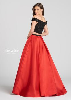Style EW118168 Ellie Wilde Red Size 8 Tall Height Lace A-line Dress on Queenly