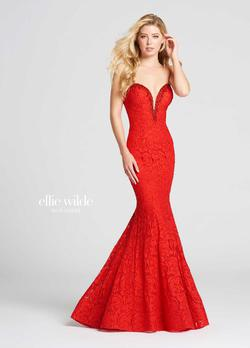 Style EW118036 Ellie Wilde Red Size 12 Prom Jersey Plus Size Mermaid Dress on Queenly