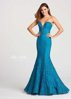 Style EW118036 Ellie Wilde Blue Size 00 Pageant Tall Height Lace Mermaid Dress on Queenly