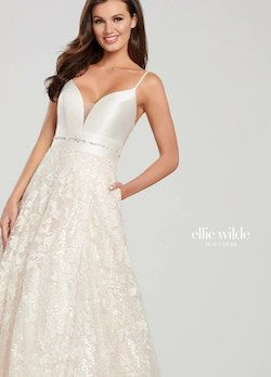 Style EW119005 Ellie Wilde White Size 12 Embroidery Ivory Sequin Silk A-line Dress on Queenly
