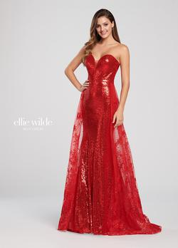 Style EW119039 Ellie Wilde Red Size 6 Jewelled Prom Mermaid Dress on Queenly