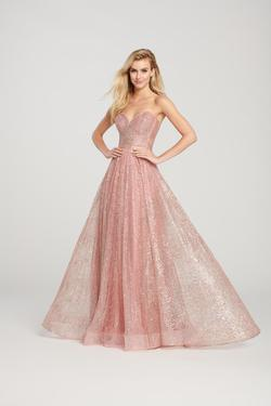 Style EW119002 Ellie Wilde Pink Size 4 Prom Gold Pageant A-line Dress on Queenly