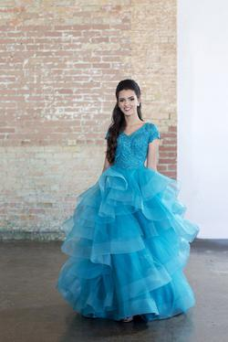 Style EW118193 Ellie Wilde Blue Size 16 Tulle Plus Size Tall Height Lace Ball gown on Queenly