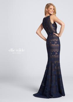 Style EW21714 Ellie Wilde Blue Size 6 Nude Tall Height Wedding Guest Straight Dress on Queenly