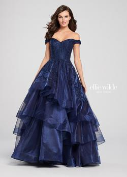 Style EW119043A Ellie Wilde Blue Size 14 Quinceanera Tall Height Ball gown on Queenly
