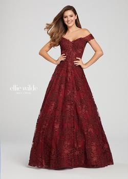 Style EW119009 Ellie Wilde Red Size 14 Tall Height Ball gown on Queenly
