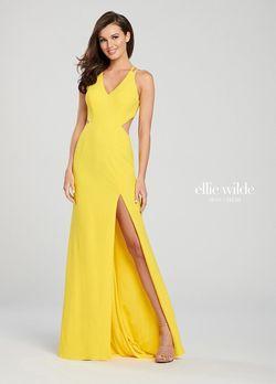 Style EW119159 Ellie Wilde Yellow Size 4 Jersey Side slit Dress on Queenly