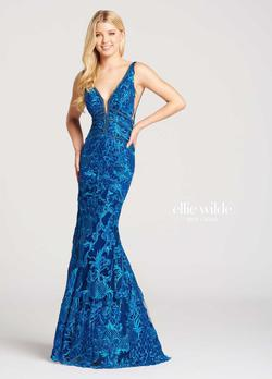 Style EW118033 Ellie Wilde Blue Size 14 Prom Plus Size Tulle Mermaid Dress on Queenly