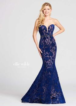 Style EW118052 Ellie Wilde Blue Size 6 Nude Tall Height Mermaid Dress on Queenly