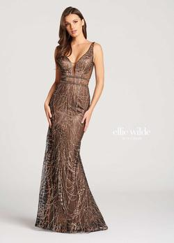 Style EW118069 Ellie Wilde Gold Size 10 Pageant Tulle Tall Height Mermaid Dress on Queenly