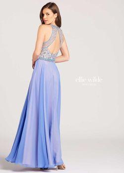 Style EW118097 Ellie Wilde Blue Size 16 Halter Plus Size A-line Dress on Queenly