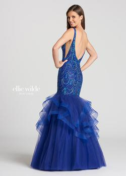 Style EW118121 Ellie Wilde Blue Size 8 Pageant Tall Height Mermaid Dress on Queenly
