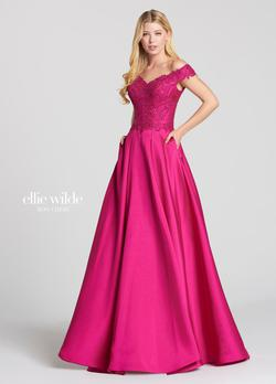 Style EW118152 Ellie Wilde Pink Size 8 Tall Height Lace Mermaid Dress on Queenly