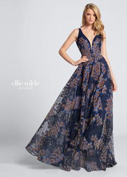Style EW21713 Ellie Wilde Blue Size 10 Tall Height Wedding Guest A-line Dress on Queenly