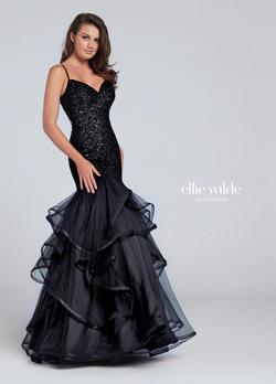 Style EW117101 Ellie Wilde Black Size 4 Pageant Tall Height Mermaid Dress on Queenly