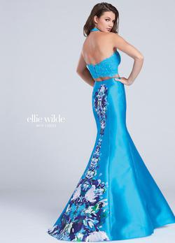 Style EW117004 Ellie Wilde Blue Size 10 Halter Train Tall Height Lace Mermaid Dress on Queenly