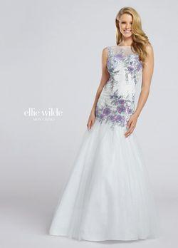 Style EW117018 Ellie Wilde White Size 14 Prom Sweetheart Boat Neck Mermaid Dress on Queenly