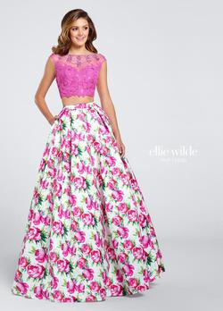 Style EW117035 Ellie Wilde Pink Size 10 Boat Neck Tall Height Lace A-line Dress on Queenly