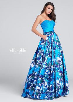 Style EW117170 Ellie Wilde Blue Size 10 Sweetheart Tall Height Ball gown on Queenly
