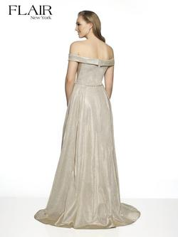 Style 19407 Flair Prom Silver Size 12 Pageant Side slit Dress on Queenly