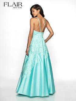 Style 19061 Flair Prom Blue Size 6 Prom Silk Pageant A-line Dress on Queenly